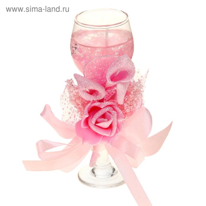 """Свеча гелевая """"Цветочная фантазия"""", цвет розовый"""