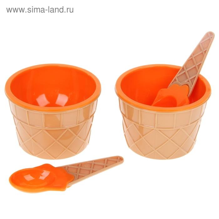 Набор для мороженого, 4 предмета: 2 пиалы, 2 ложки, цвета МИКС