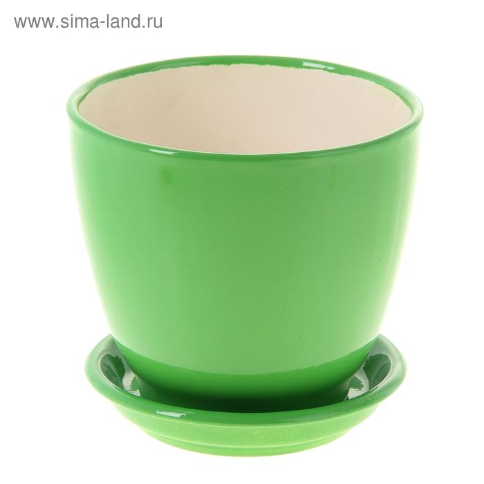 """Кашпо """"Кедр зелёное, глянец, 1,6 л"""