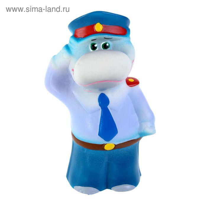 """Резиновая игрушка """"Бегемот-полицейский"""""""