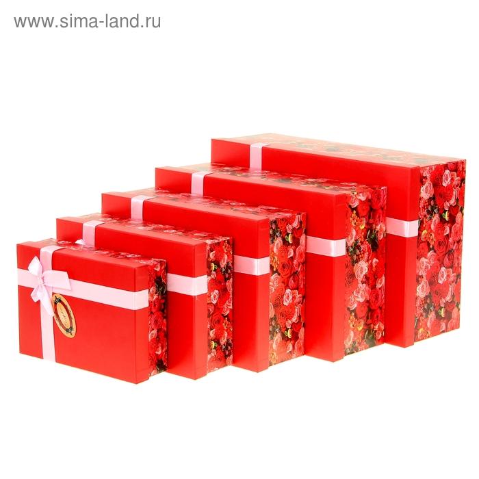 """Набор подарочных коробок 5 в 1 """"Алые розы"""""""