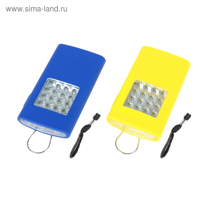 Фонарик подвесной с магнитом 19 диодов, 3 батарейки ААА, цвета МИКС