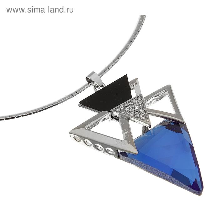 """Кулон на гривне """"Бермудский треугольник"""", цвет сине-черный в серебре, 30см"""