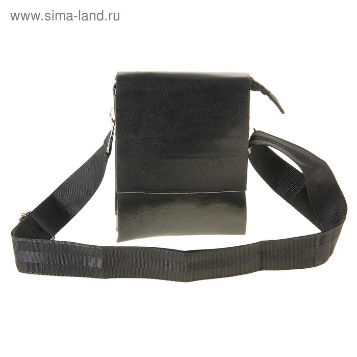 """Планшет мужской """"Классика"""", 3 отдела, 2 наружных кармана длинный ремень, черный"""