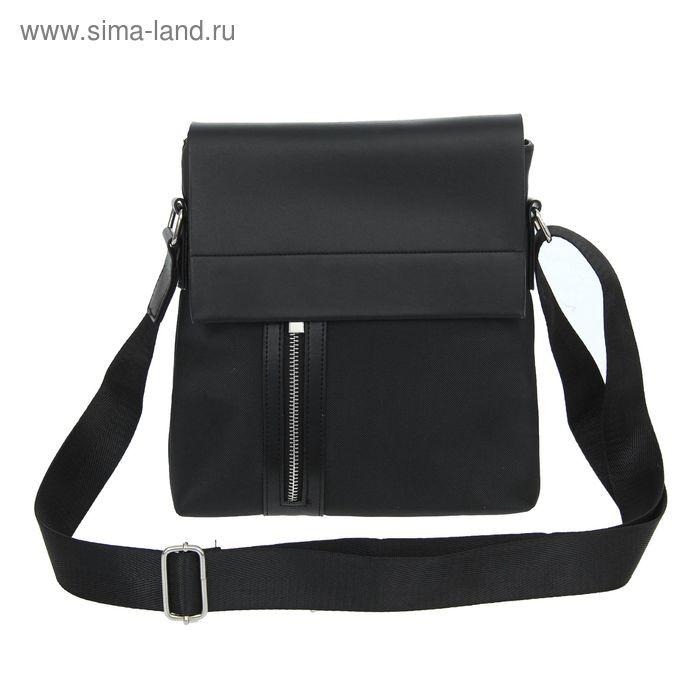"""Планшет мужской """"Леон"""", 1 отдел, 2 наружных кармана, длинный ремень, цвет черный"""