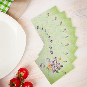 """Салфетки бумажные (набор 20 шт) 33*33 см """"Цветочки на зеленом"""""""