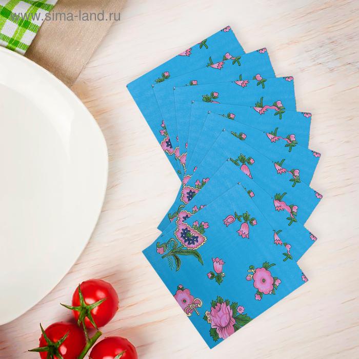 """Салфетки бумажные (набор 20 шт) 33*33 см """"Выдумка цветочная на синем"""""""