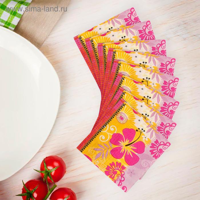 """Салфетки бумажные (набор 20 шт) 33*33 см """"Гавайская лилия"""" розовая"""