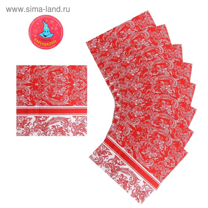 """Салфетки бумажные (набор 20 шт) 33*33 см """"Интрига"""" красная"""