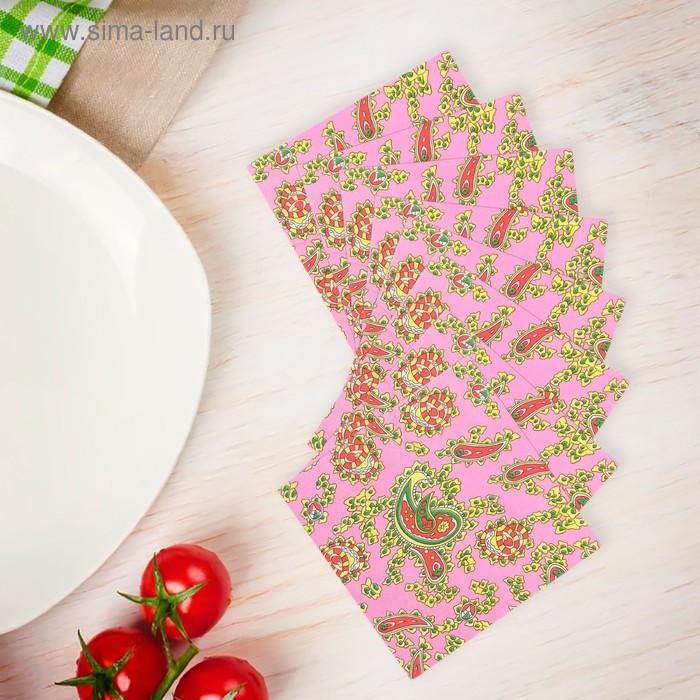 """Салфетки бумажные (набор 20 шт) 33*33 см """"Турецкие огурцы на розовом"""""""