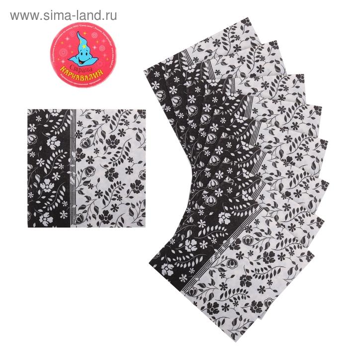 """Салфетки бумажные (набор 20 шт) 33*33 см """"Орнамент цветочный черный и белый"""""""