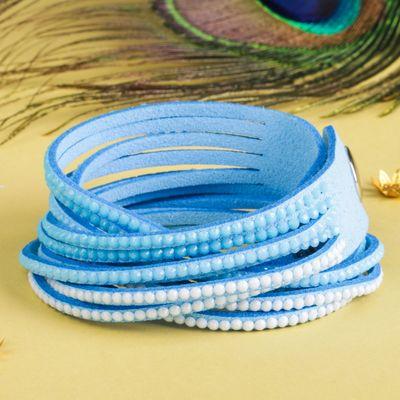 """Браслет кожа """"Гавайский"""" 6 нитей, цвет голубой, 40 см"""