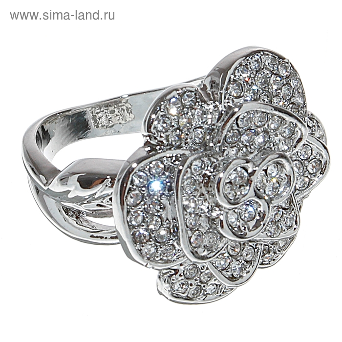 "Кольцо ""Цветок"" роза, цвет серебро, размер МИКС"