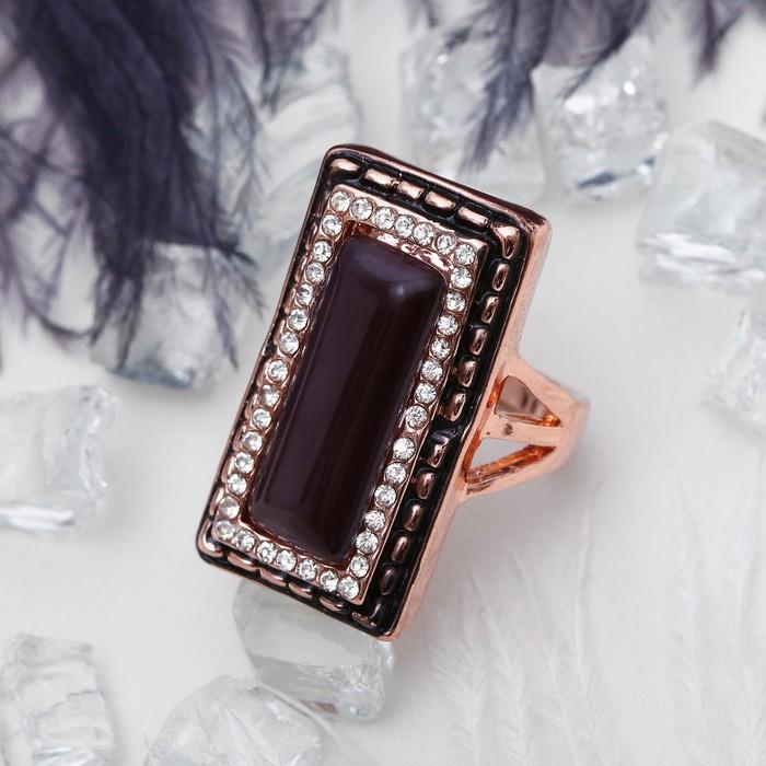 """Кольцо """"Прямоугольный стиль"""", цвет чёрный в золоте, размер 17,18,19 МИКС"""