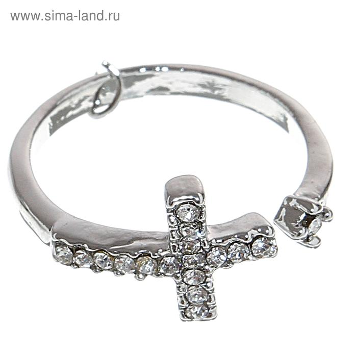 "Кольцо ""Крестик"", цвет серебро, размер МИКС"