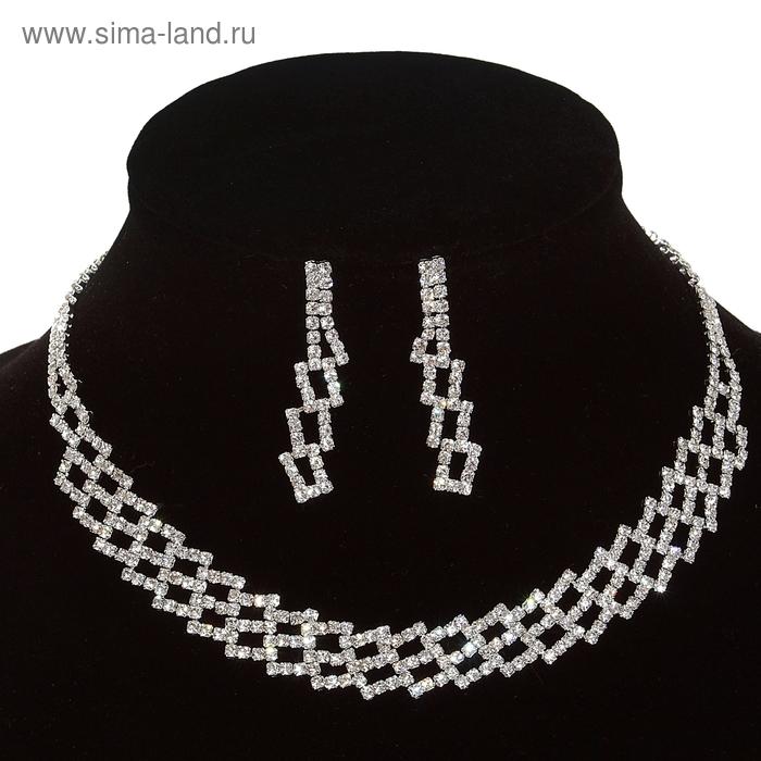 Набор 2 предмета: серьги, колье Wedding, прямоугольники, цвет серебро