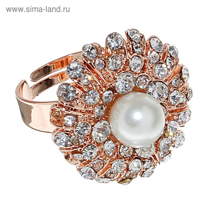 """Кольцо """"Цветок с жемчужной"""", цвет золото, безразмерное"""