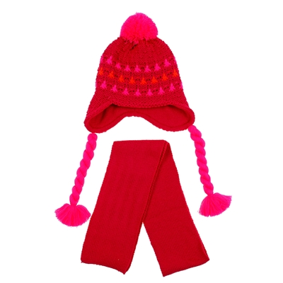 "Комплект детский зимний ""Косичка"": шапка, шарф, объем 50-52см (3-4года), цвет микс"