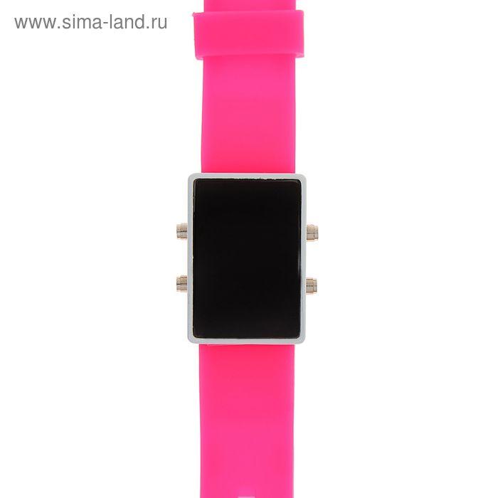 Часы наручные женские на силиконовом ремешке, циферблат прямоугольный, цвет розовый