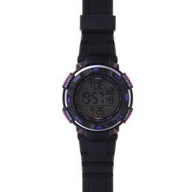 Часы наручные мужские электронные функциональные на силиконовом ребристом ремешке, сиреневые кнопки