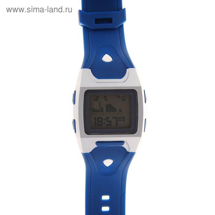 Часы наручные мужские электронные влагозащищенные на силиконовом ремешке, цвет синий