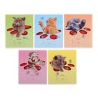 """Тетрадь 12 листов клетка """"Кошки-мышки"""", картонная обложка, тиснение, 5 видов МИКС"""