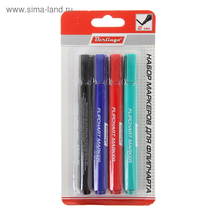 Набор маркеров для флипчарта 4 цвета 2.0 мм Berlingo,  аBMf_42209