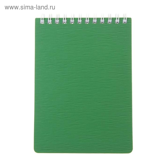 Блокнот пластиковая обложка А6, 80 листов на гребне WOOD, Зеленый