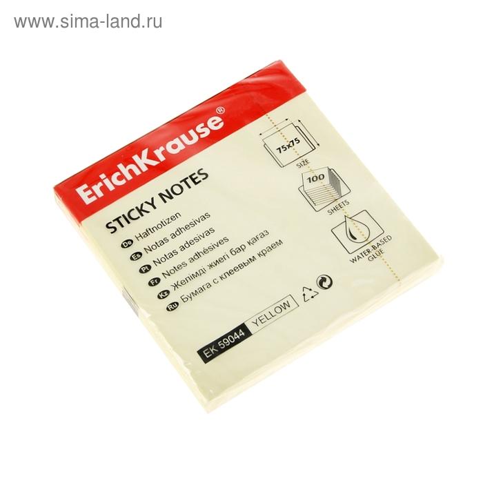 Блок бумаги с липким краем 75х75мм желтый, EK 59044