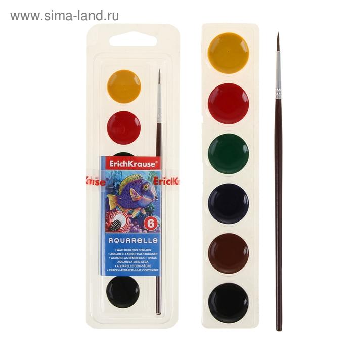 Акварель медовая 6 цветов, с кистью, мягкий пластик, EK 37020