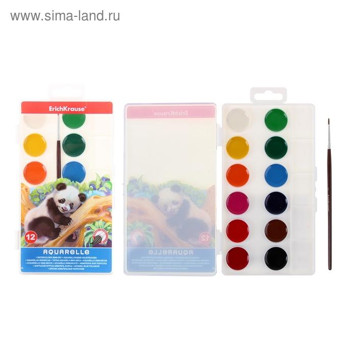 Акварель Erich Krause, 12 цветов, в пластиковой коробке, с палитрой и кистью