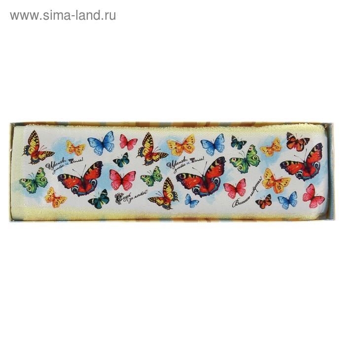 "Полотенце махровое Collorista ""Бабочки"", размер 30х70 см, 100% хлопок, 450 г/м2"