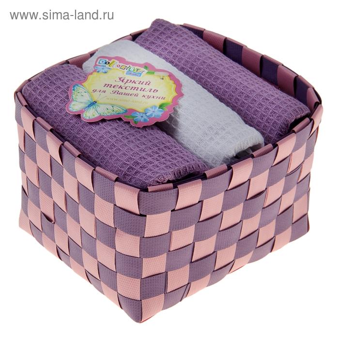 """Наб. вафельных полотенец """"Collorista"""" Violet white, 38х63см - 3 шт, хлопок"""