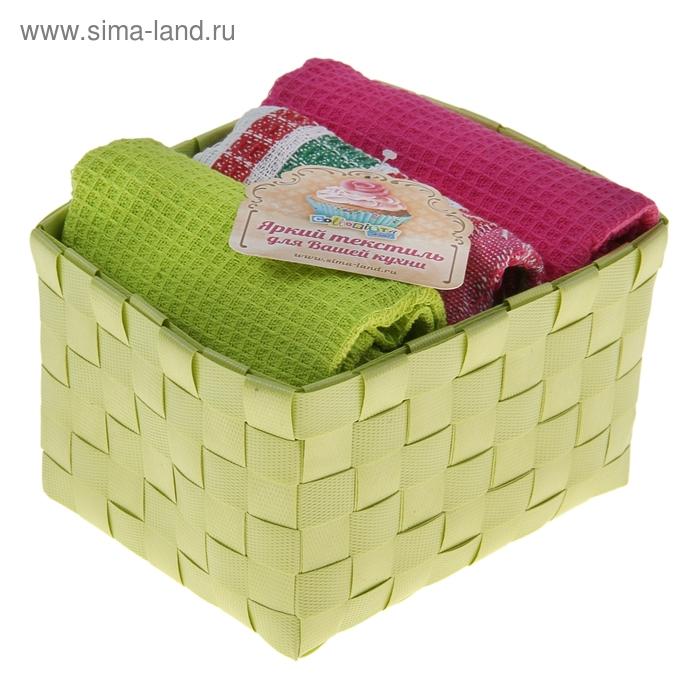 """Наб. вафельных полотенец """"Collorista"""" Green pink, 38х63см - 3 шт, хлопок"""