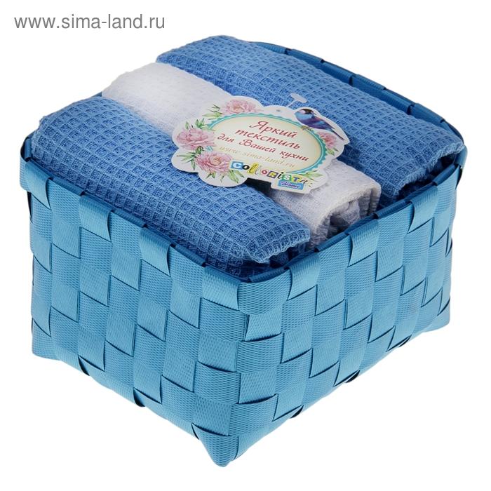 """Наб. вафельных полотенец """"Collorista"""" Blue white, 38х63см - 3 шт, хлопок"""