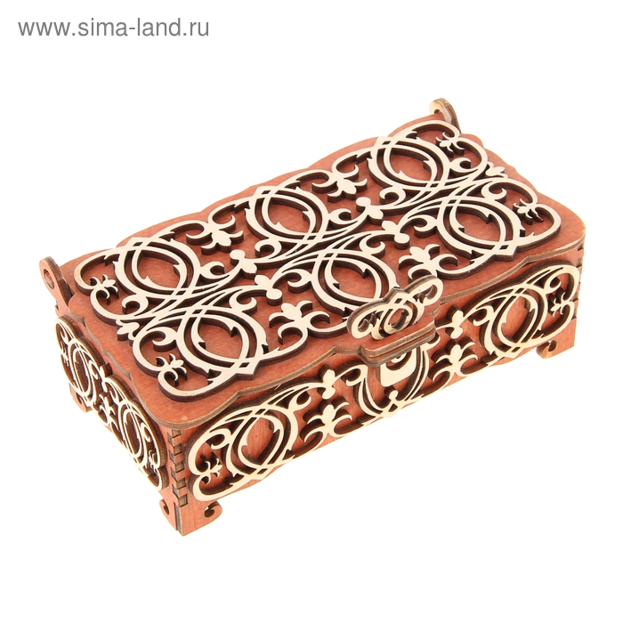 Шкатулка - купюрница красная с белыми резными элементами, 17х9х5,8 см