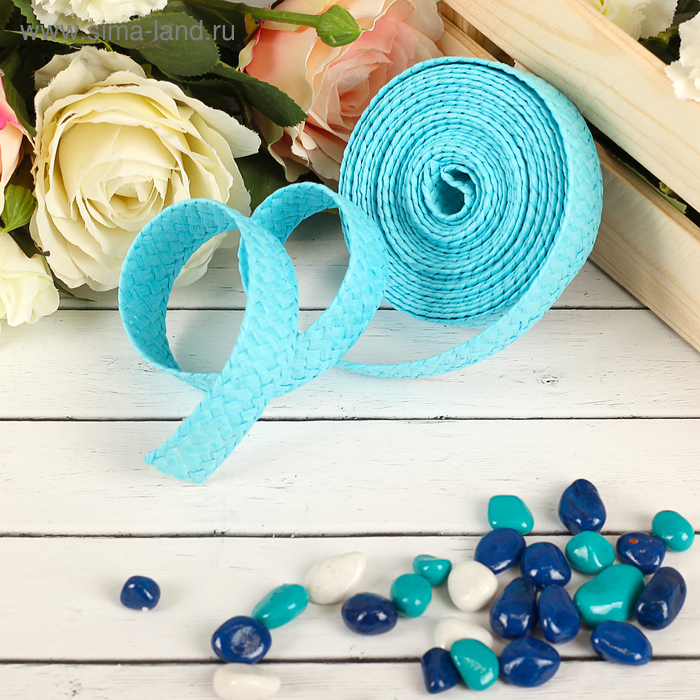 Лента декоративная плетёная, цвет голубой