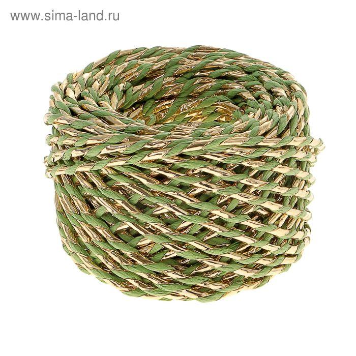 Шпагат декоративный, цвет зелёный с золотом