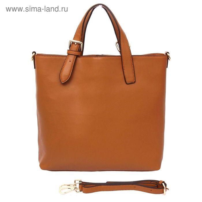 """Сумка женская """"Хлоя"""", 3 отдела, наружный карман, длинный ремень, коричневый"""
