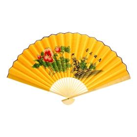 """Веер """"Цветы и птицы"""", цвет жёлтый"""