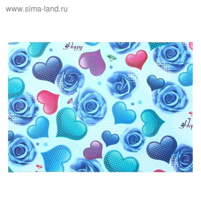"""Бумага для творчества """"Цветные сердца и синие розы"""" А4 плотность 80 гр"""