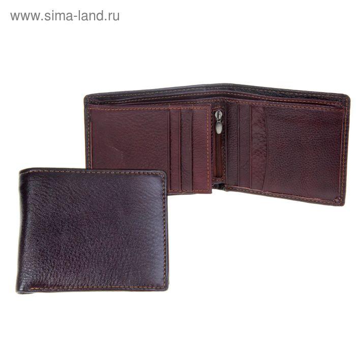 """Кошелёк мужской """"Гарик"""", 3 отдела, отдел для кредиток, отдел для SIM-карт, цвет кофейный"""