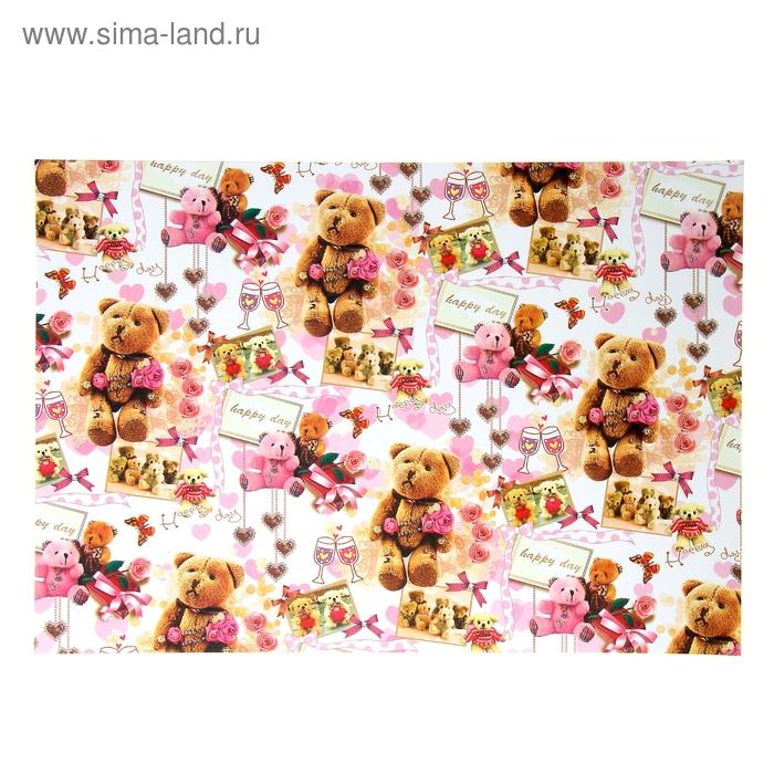 "Бумага для творчества ""Медведи с цветами"" А4 плотность 80 гр"