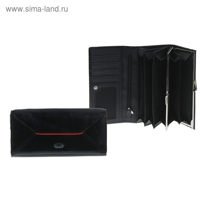 Кошелёк женский на клапане, 4 отдела, 2 отдела на рамке, отдел для кредиток, отдел для монет, наружный карман, глянцевый, чёрный