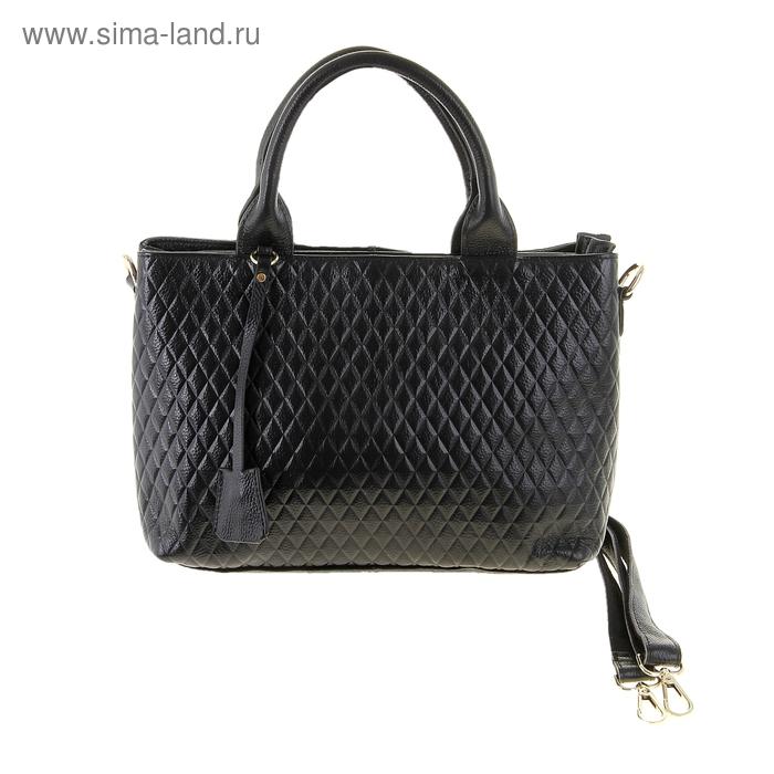 """Сумка женская """"Инга"""", 2 отдела, наружный карман, длинный ремень, черная"""