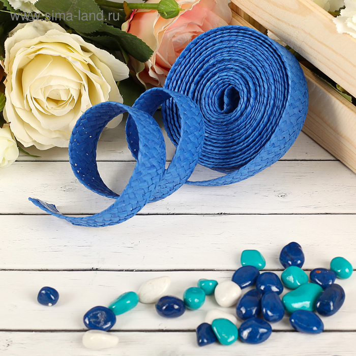 Лента декоративная плетёная, цвет синий