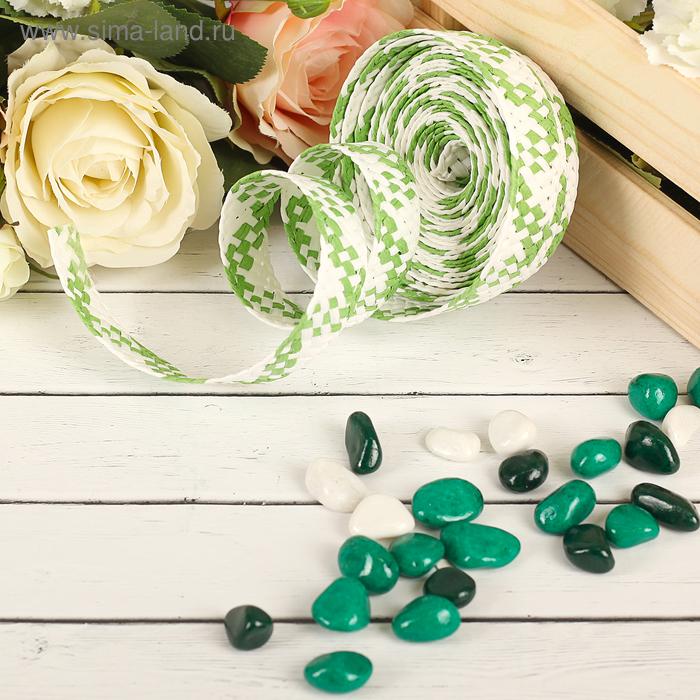 Лента декоративная плетёная, цвет зелёный с белым