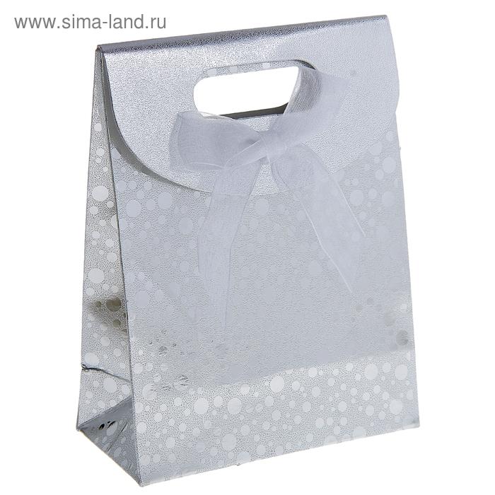 """Пакет с клапаном """"Перламутровый горох"""", цвет серебро"""