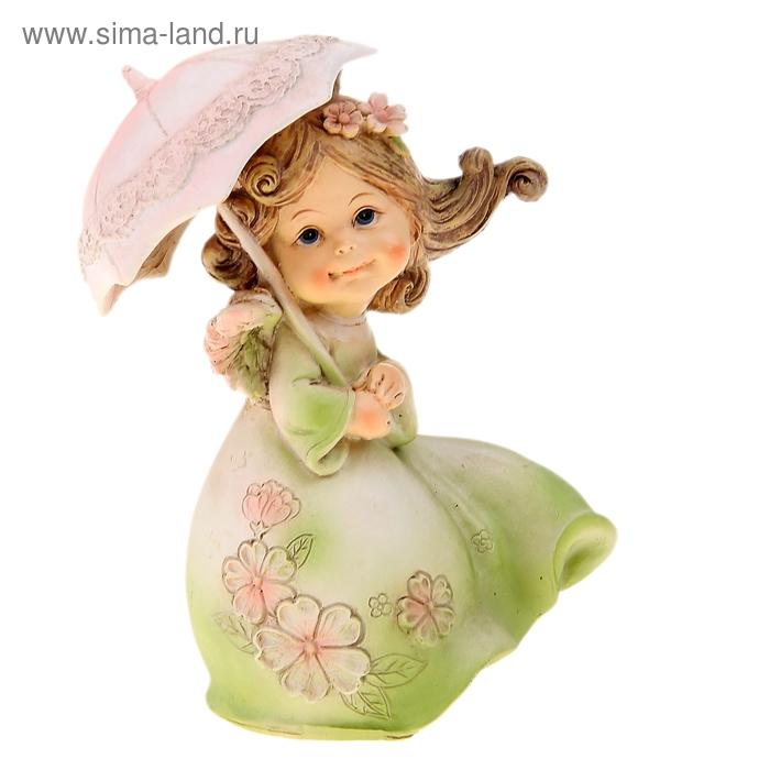 """Сувенир """"Феечка в зеленом платье с зонтом"""""""