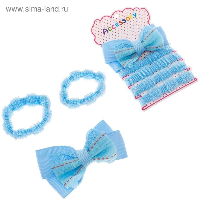 """Набор для волос """"Малютка"""" (зажим,4 резинки) голубой бантик"""